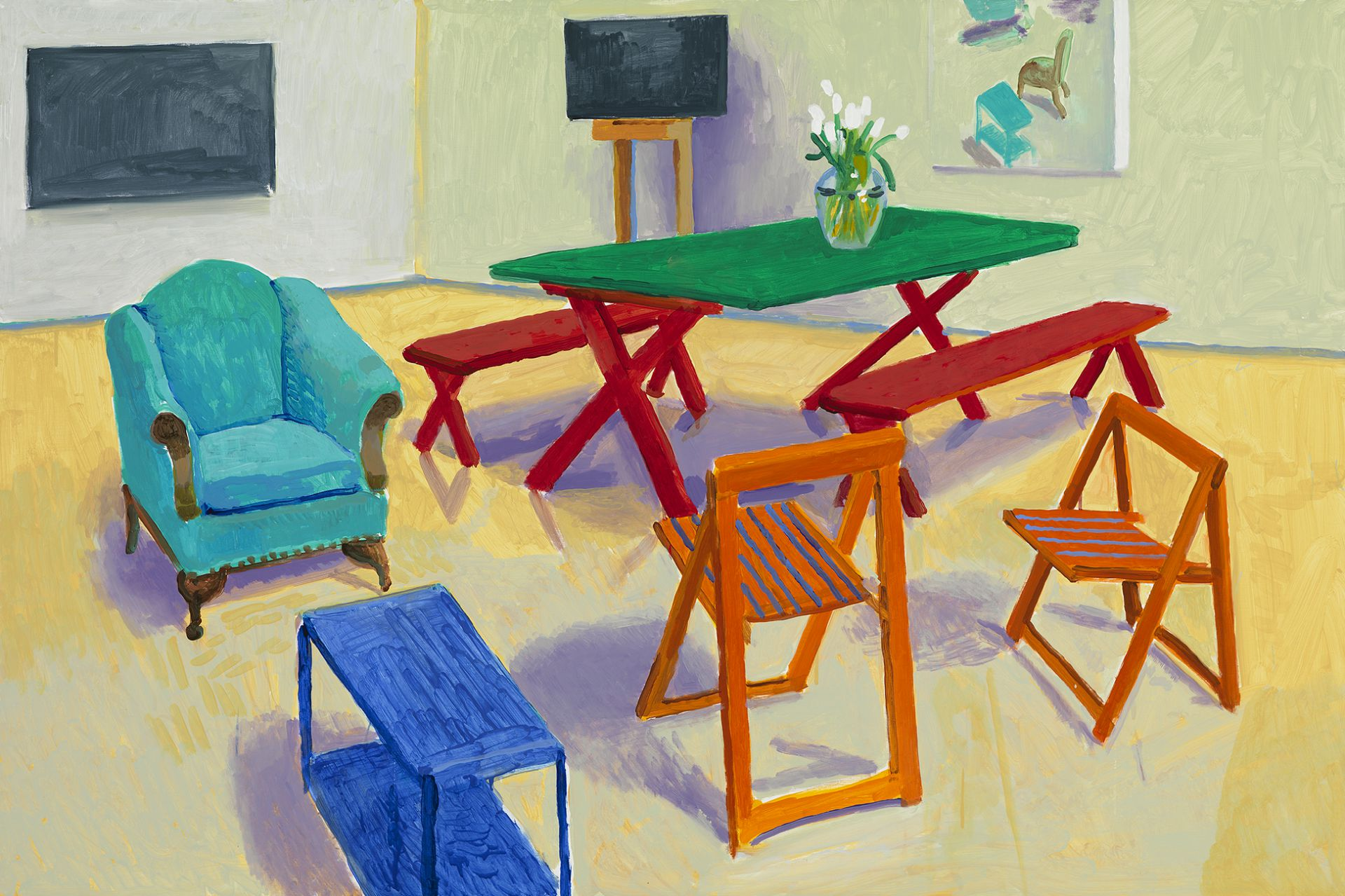 Exceptional David Hockney, Studio Interior #2, 2014, Acrylic On Canvas © David Hockney